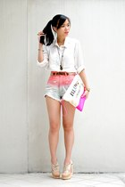 white oversized silk H&M blouse