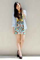 turquoise blue printed bodycon shopabcd skirt - black Summersault wedges