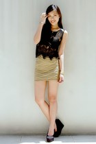 gold Forever 21 skirt - black Summersault wedges
