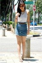 sky blue denim bodycon cotton on skirt