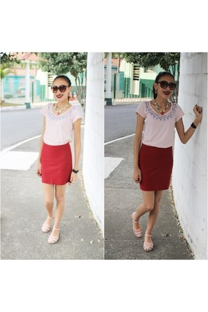 red Zara skirt - peach romwe shirt - bubble gum Schutz sandals