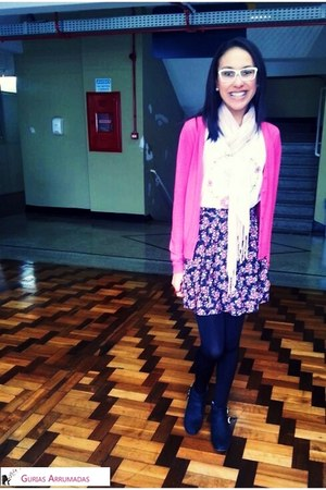 black socks - hot pink cardigan - purple skirt