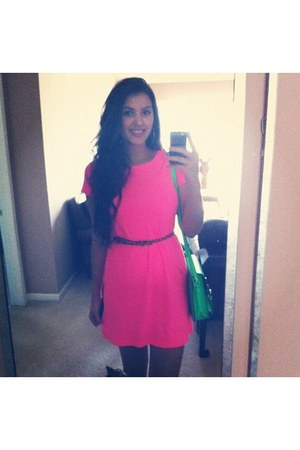 hot pink t-shirt Gap dress - lime green faux leather Steve Madden bag