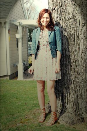 white Forever 21 dress - blue lux uo blazer - brown Forever 21 shoes