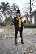 black Stradivarius boots - black Zara coat - black Bershka leggings