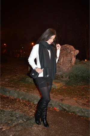black Zara coat - black H&M scarf - black Zara skirt - silver Festina watch