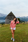 Red-plaid-zara-shirt-white-c-a-shorts-white-soft-h-m-intimate