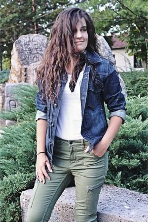 blue denim H&M jacket - black bandana H&M scarf - olive green H&M pants