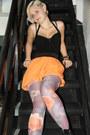 Black-h-m-boots-light-purple-floral-print-h-m-tights