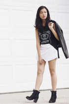 black cotton on boots - black pleather Maple jacket - white apartment 8 skirt