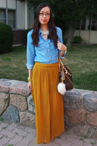 chambray Forever 21 shirt - tivoli gm Louis Vuitton bag - maxi Topshop skirt