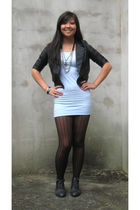 black jacket - blue hm dress - black Urban Outfitters stockings - black Forever