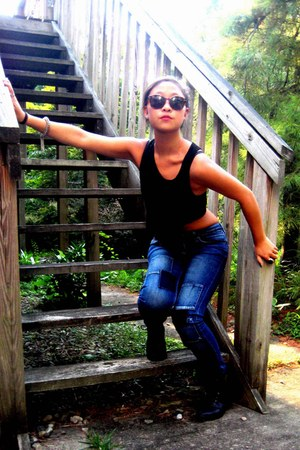 black field we who see boots - blue patched H&M jeans - dark brown sunglasses -