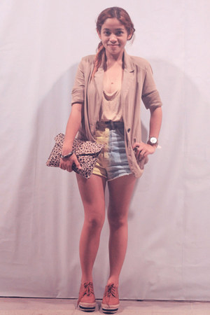 gold Mango top - blazer Forever21 blazer - animal-print Wintermelon bag