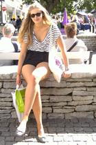 silver visby bracelet - silver Zara shoes - black Gina shorts