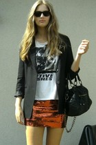 hm blazer - copenhagen t-shirt - 2ndhand skirt - 2ndhand belt - lindex accessori