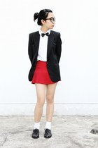 ruby red pleated Vanilla Essence skirt - black Zara blazer - white H&M blouse