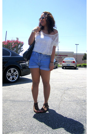 off white top - white top - black bag - sky blue shorts - dark brown sandals