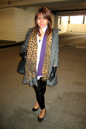 heather gray H&M jacket - black ever leggings - purple Thrift Store blazer - bla