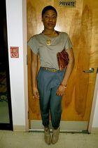 vintage belt - rachel roy shoes - vintage pants - H & M t-shirt - vintage purse