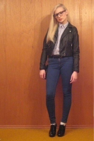 H&M jacket - thrifted shirt - BDG jeans - payless shoes