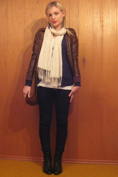 vintage earrings - H&M scarf - H&M jacket - forever 21 sweater - BDG pants - vin