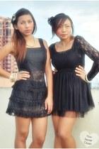 black lace dress dress - black tutu skirt - black blouse - black bracelet