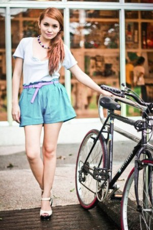 shorts - shirt - accessories - patent wedges - belt