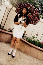 brown coat - white dress - white socks - black shoes - white gloves