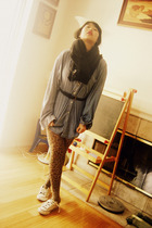 black sonoma coat - blue shirt - black belt - brown Apt 9 tights - white Convers
