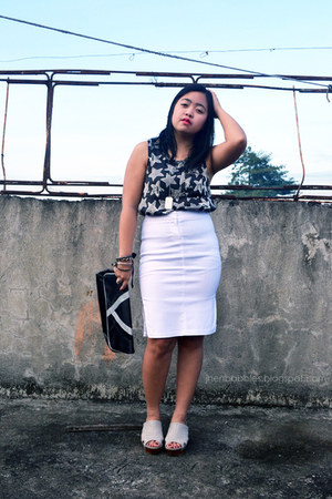 white midi skirt SM Dept Store skirt - black Avon bag