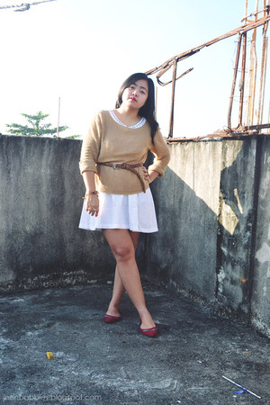 light brown Mango sweater - ivory Forever 21 dress - brown Topshop belt