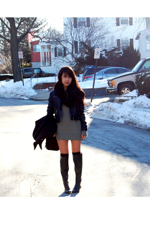 green Rugby Ralph Lauren dress - black Jeffrey Campbell boots - black  jacket -