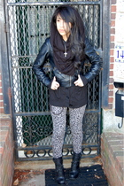 silver Forever 21 pants - black Jeffrey Campbell boots - black no name jacket -