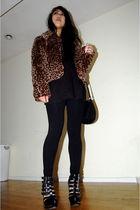 brown vintage coat - black H&M dress - black CVS tights - black Jeffrey Campbell
