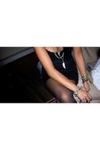 Marciano top - thrifted skirt - CVS tights - Gap jacket