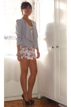 silver blazer - white dress - black shoes
