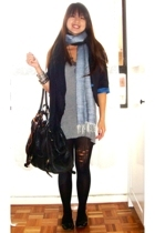 top - blazer - scarf - stockings