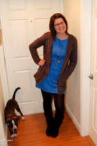 gray Forever 21 coat - blue Old Navy dress - black Forever 21 leggings - black F