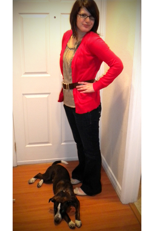 red Old Navy cardigan - beige Gap shirt - brown unknown belt - beige Gap shoes -