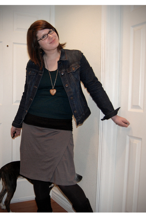 brown Forever 21 necklace - blue Old Navy jacket - green unknown sweater - gray 