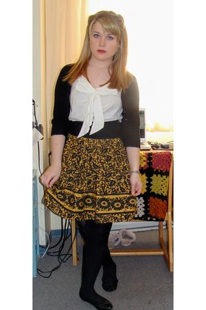 gold bryans skirt - black le chateau cardigan - white H&M blouse