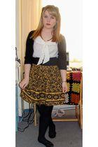 gold bryans skirt - black le chateau cardigan - white H&M blouse