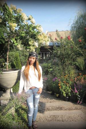 Flying Monkey jeans - chiffon Alexander McQueen scarf - Hermes belt - H&M blouse