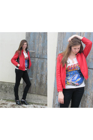 black BCBGirls boots - black H&M jeans - red vintage Peter Caruso jacket - white