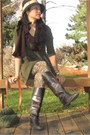 Dark-brown-leather-gianni-bini-boots-olive-green-knit-forever-21-dress