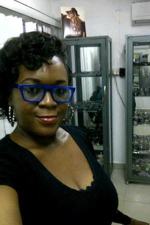 blue AJ Morgan glasses - unknown dress - unknown earrings