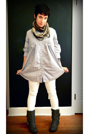 blue Marshalls shirt - white Target jeans - gray make me chic on ebay boots - br