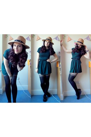 light brown Topshop hat - dark green Topshop dress - black Missguided tights
