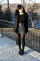 black American Rag coat - black Urban Outfitters top - black Urban Outfitters be